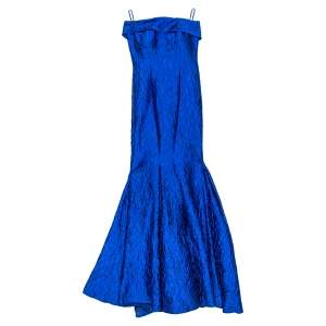 فستان سهرة سي أتش كارولينا هيريرا بلا حمالات جاكار مجعد أزرق رويال مقاس صغير (سمول)
