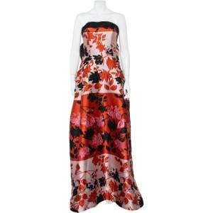 فستان سهرة كارولينا هيريرا جاكار مورد متعدد الألوان بلا حمالات مقاس كبير - لارج