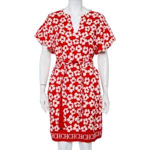 CH Carolina Herrera Red Floral Printed Silk & Linen Oversized Belted Dress S