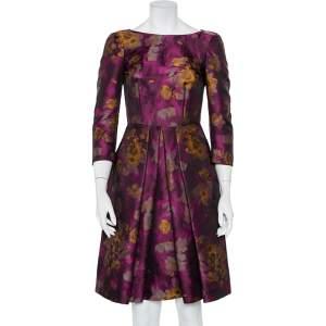 فستان ميدي سي إتش كارولينا هيريرا جاكار ماغينتا مورد بطيات مقاس صغير - سمول