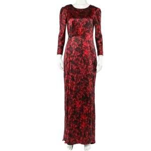 CH Carolina Herrera Black & Red Abstract Printed Silk Satin Brooch Detail Maxi Dress M