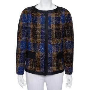 Carolina Herrera Multicolor Tweed Button Front Jacket XL