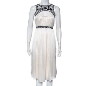 Carolina Herrera Cream Silk Embroidered Neckline Cutout Detail Belted Shift Dress XL