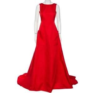 Carolina Herrera Red Sateen Backless Evening Gown S
