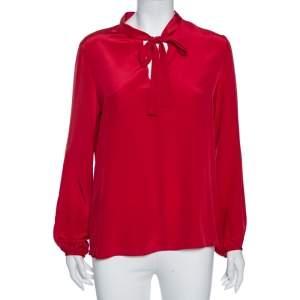 Carolina Herrera Red Silk Neck Tie Detail Blouse M