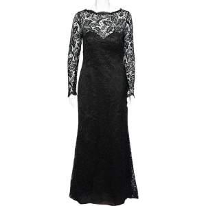 Carolina Herrera Black Lace Trail Detail Long Sleeve Gown L