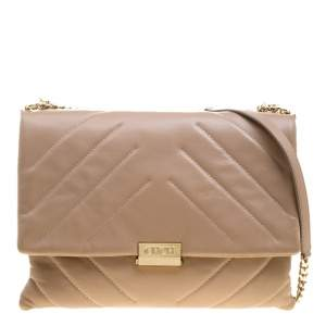 Carolina Herrera Beige Leather Shoulder Bag