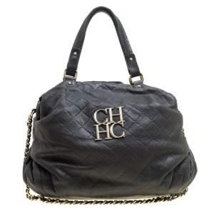Carolina Herrera Black Quilted Leather Top Handle Bag