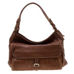 Carolina Herrera Tan Monogram Leather Shoulder Bag