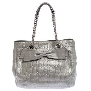Carolina Herrera Silver Monogram Leather Audrey Tote