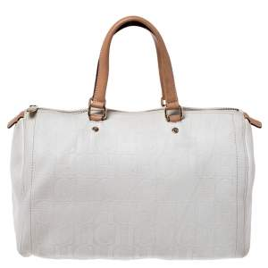 Carolina Herrera Cream/Tan Monogram Leather Large Andy Boston Bag