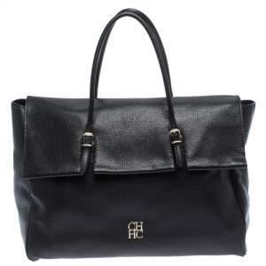 Carolina Herrera Black Leather Tempo Collection Adagio Tote