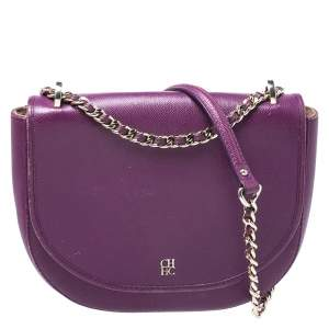 Carolina Herrera Purple Leather Flap Chain Shoulder Bag