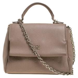 Carolina Herrera Beige Leather Minueto Top Handle Bag
