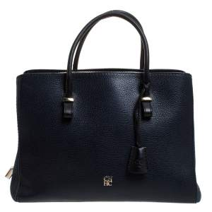 Carolina Herrera Navy Blue/Black Leather Zip Tote