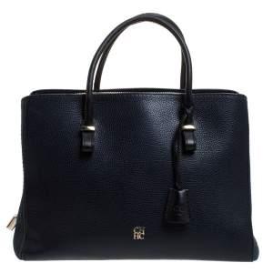 حقيبة يد كارولينا هيريرا بسحاب جلد أزرق كحلي و أسود
