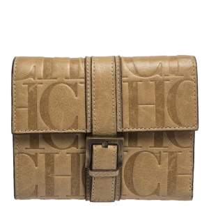 Carolina Herrera Beige Monogram Leather Buckle Flap Compact Wallet