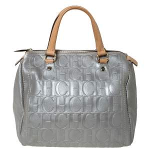 Carolina Herrera Metallic Silver Monogram Embossed Leather Andy Boston Bag