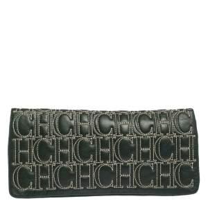 Carolina Herrera Dark Green Monogram Leather Jerry Clutch