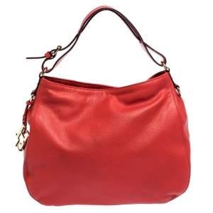 Carolina Herrera Red Leather CH Charm Hobo