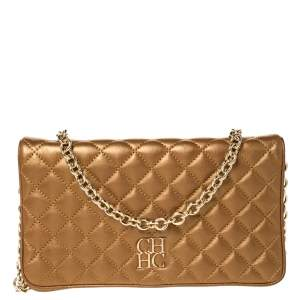 Carolina Herrera Gold Quilted Leather Chain Clutch