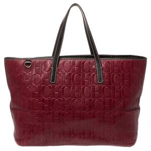 Carolina Herrera Burgundy Monogram Leather Shopper Tote