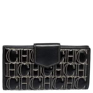 Carolina Herrera Black Monogram Embossed Patent Leather Flap Continental Wallet