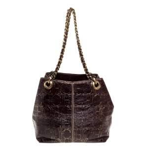 Carolina Herrera Brown/Gold Monogram Leather Chain Shoulder Bag
