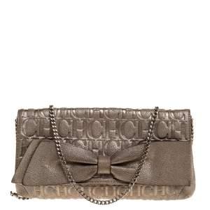 Carolina Herrera Gold Monogram Leather Bow Chain Clutch