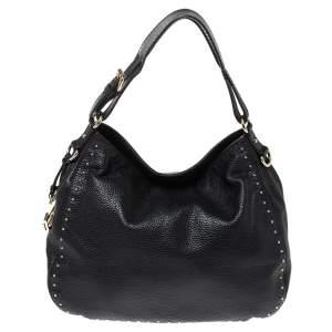Carolina Herrera Black Leather Studded Hobo