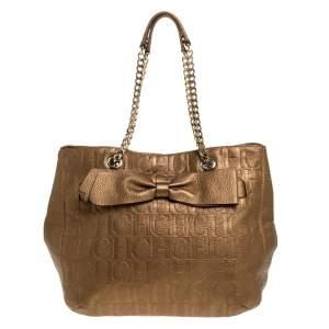 Carolina Herrera Gold Monogram Leather Audrey Tote