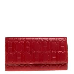 Carolina Herrera Red Monogram Leather Clutch