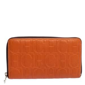 Carolina Herrera Orange Monogram Leather Zip Around Wallet