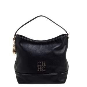 Carolina Herrera Black Leather Hobo
