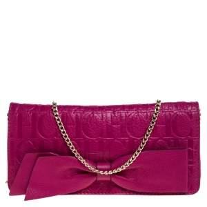 Carolina Herrera Dark Pink Monogram Leather Bow Chain Clutch