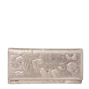 Carolina Herrera Gold Floral Embossed Leather Flap Continental Wallet