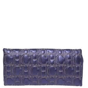 Carolina Herrera Metallic Purple Leather Jerry Clutch
