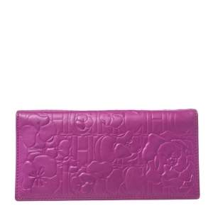 Carolina Herrera Magenta Embossed Leather Bifold Continental Wallet
