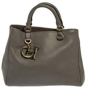 Carolina Herrera Grey Leather Charm Tote