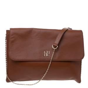 Carolina Herrera Brown Leather Logo Flap Chan Shoulder Bag
