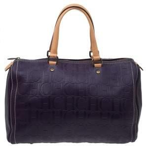 Carolina Herrera Dark Purple/Tan Monogram Leather Large Andy Boston Bag