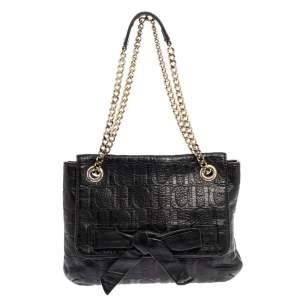 Carolina Herrera Black Monogram Leather Audrey Shoulder Bag
