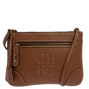 Carolina Herrera Brown Leather Logo CH Crossbody Bag