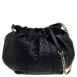 Carolina Herrera Black Monogram Embossed Leather Small Chain Hobo