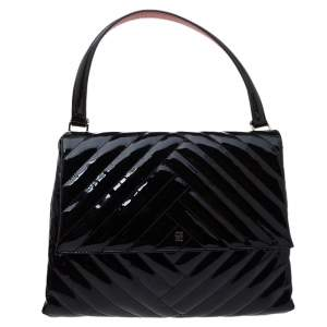 Carolina Herrera Black Leather Flap Top Handle Bag