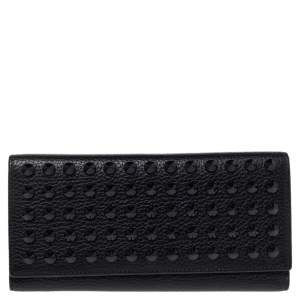 Carolina Herrera Black Studded Leather Trifold Continental Wallet