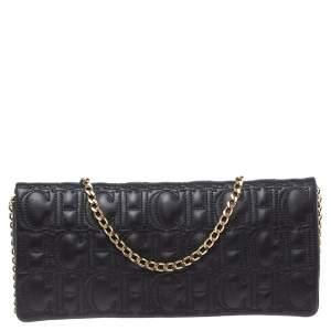 Carolina Herrera Black Monogram Leather Jerry Chain Clutch