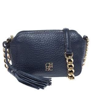 Carolina Herrera Navy Blue Leather Mini Crossbody Bag