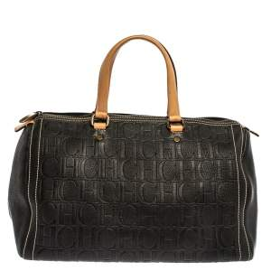Carolina Herrera Black Monogram Leather Large Andy Boston Bag