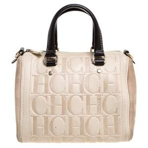 Carolina Herrera Beige/Brown Monogram Leather Mini Andy Boston Bag